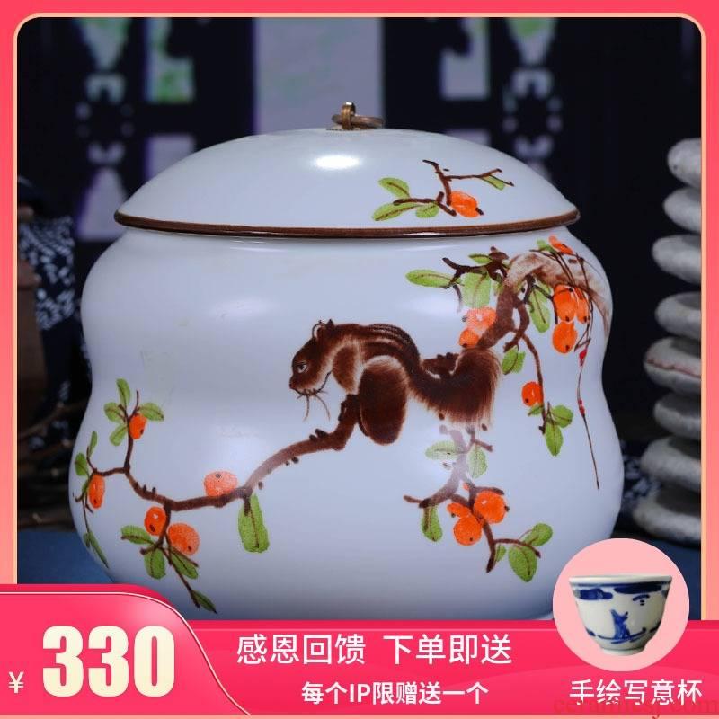 Jingdezhen ceramics hand - made tea cake box general large puer tea cake tin, white tea cake box
