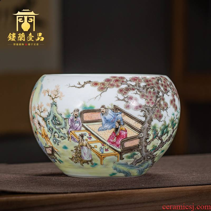 Jingdezhen ceramic all hand - made pastel peach banquet figure in hot tea to wash to cylinder washing water jar kung fu tea accessories