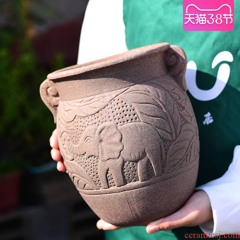 Creative basin large fleshy flowerpot mage old running high Creative meat meat the plants green plant POTS coarse pottery basin of breathable