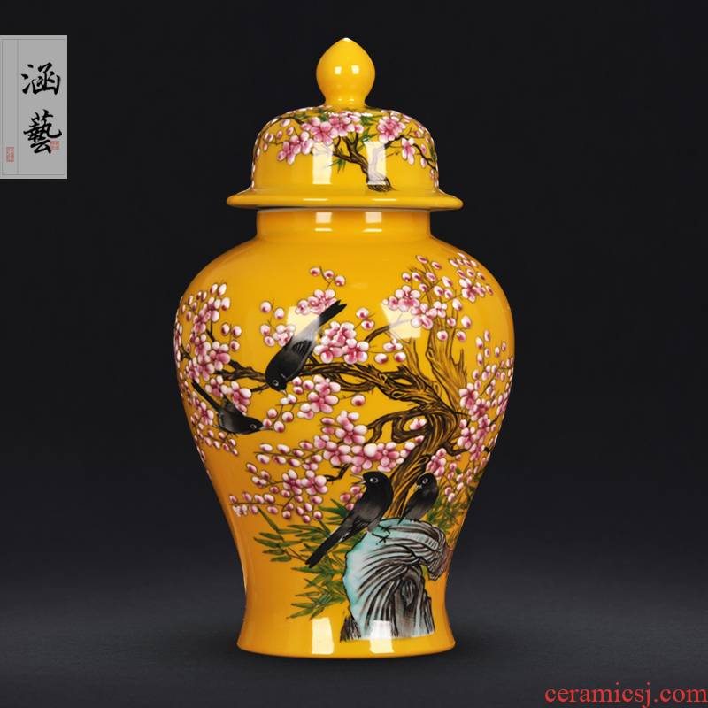 Jingdezhen ceramic general hand - made pay-per-tweet pot vase sitting room of Chinese style household decorates porch crafts are arranging flowers