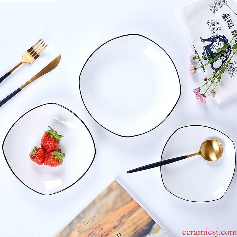 Jingdezhen ceramic northern wind hand - made black border ipads porcelain western square household dish dish dish dish dish pasta dish