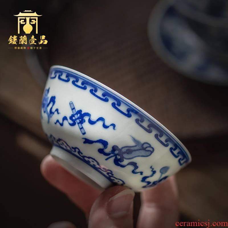 Jingdezhen ceramic full charm of the eight immortals hand - made porcelain sample tea cup kung fu tea tea, large single cup tea cup