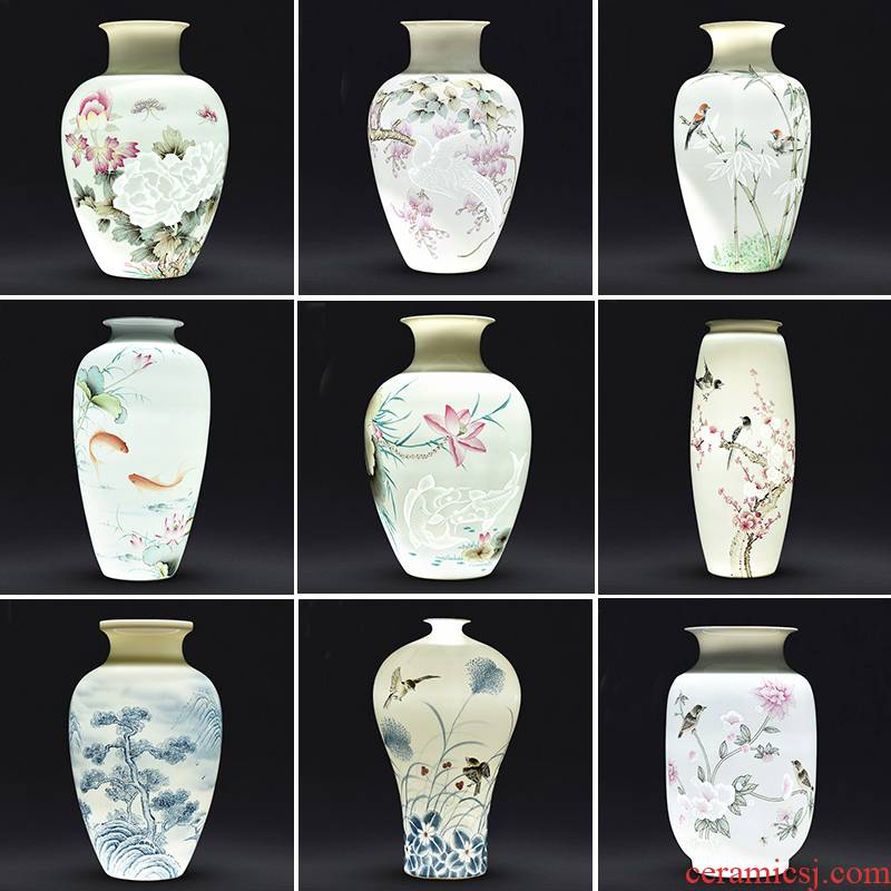 Jingdezhen ceramics hand - made exquisite pervious to light porcelain vase flower arranging the sitting room of Chinese style decoration gifts TV ark, furnishing articles