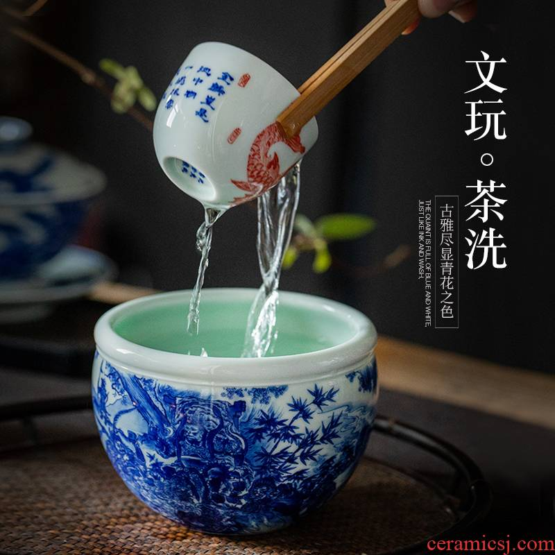 Jingdezhen pure hand - made ceramic sun wukong was built tea wash in hot water tank household kung fu tea tea accessories