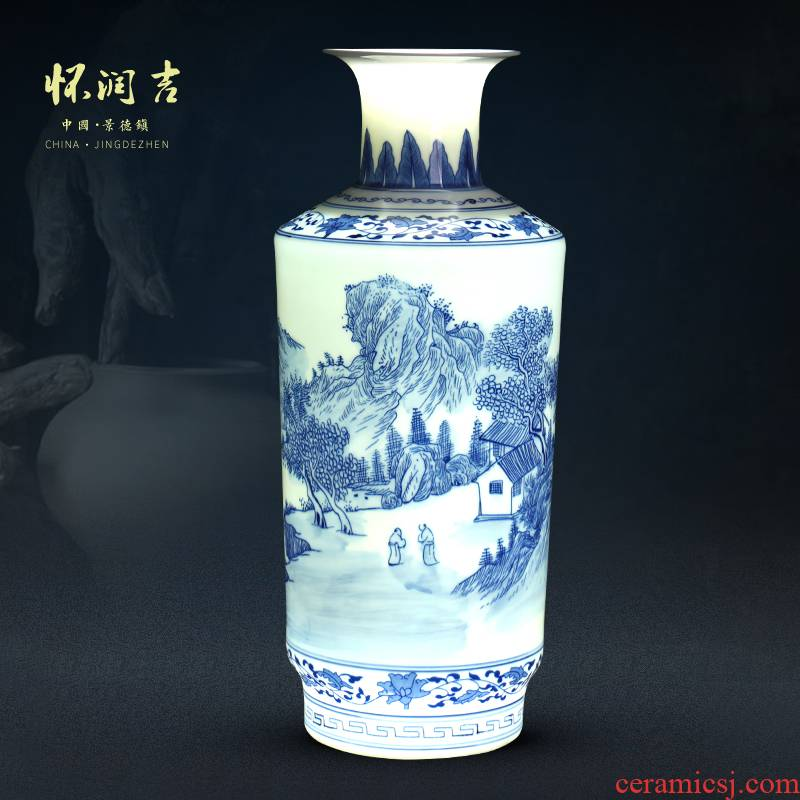 Jingdezhen blue and white landscape painting and exquisite porcelain vase archaize ceramic vase hand - made porcelain modern Chinese style decoration furnishing articles
