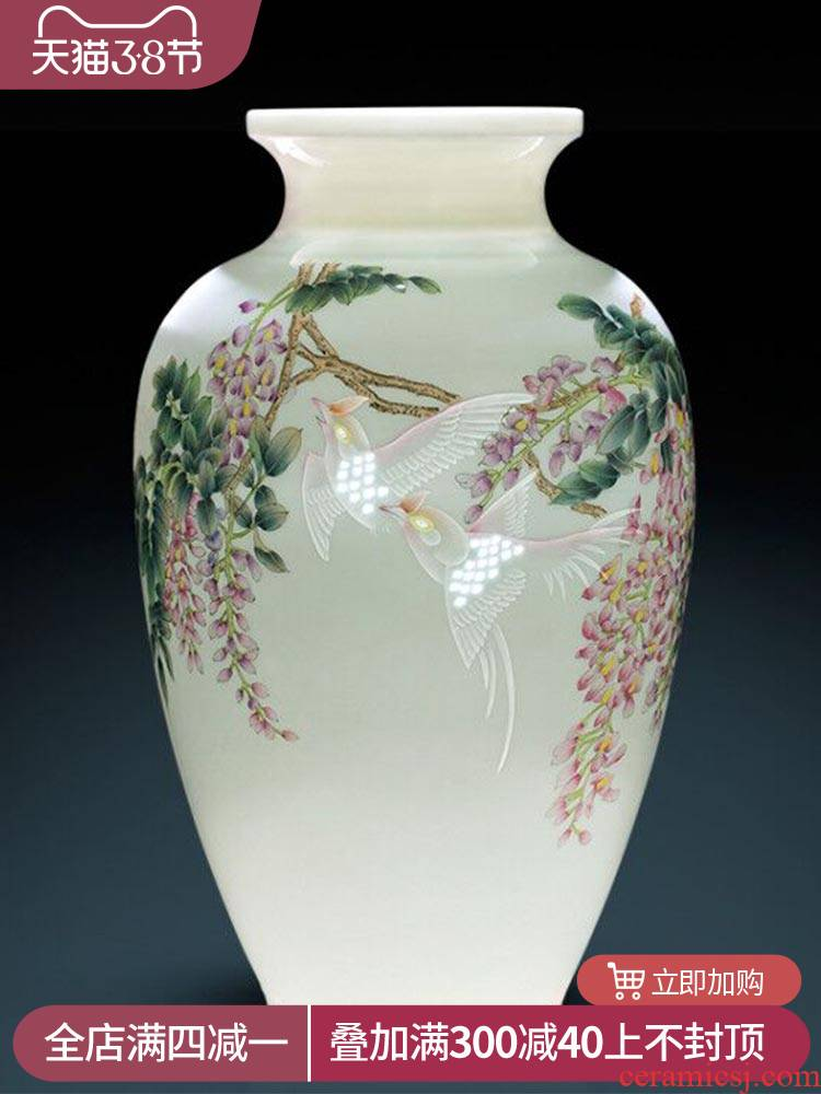 Jingdezhen ceramics vase decoration home furnishing articles, the sitting room porch decoration famous TV ark, hand - made of pastel