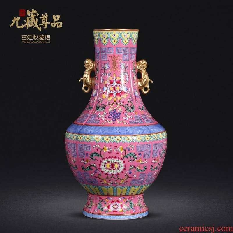 Jingdezhen ceramics powder imitation the qing qianlong pastel to tie up branch lines double lion ear vase collection crafts