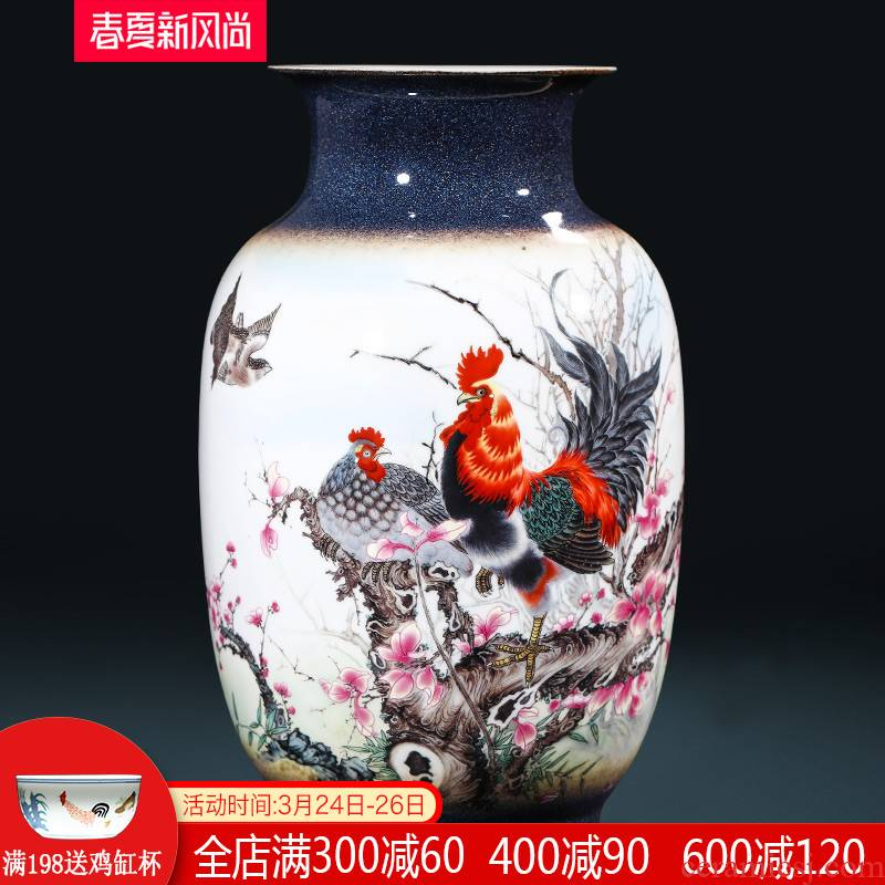 Creative jingdezhen ceramics up Zhu Wu the knorr worry - free work vase furnishing articles to send the led business