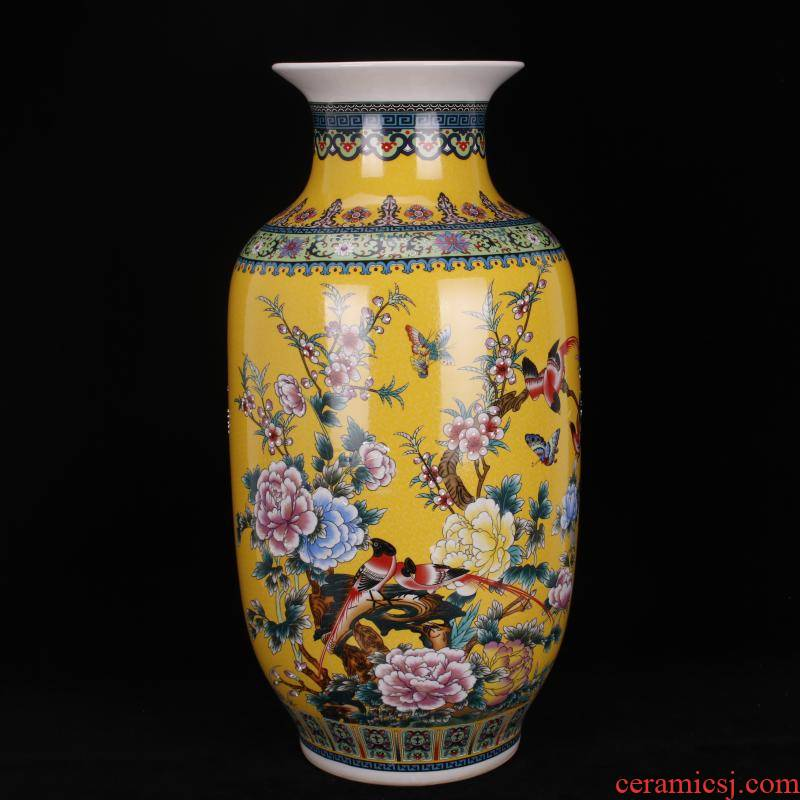 Jingdezhen ceramic colored enamel vase painting of flowers and lines of large Chinese domestic outfit company store large vase