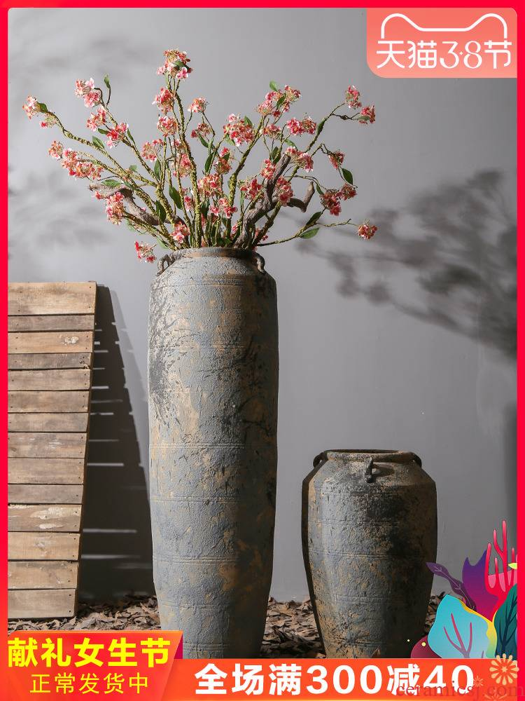 Living room furnishing articles flower arranging ceramic POTS restoring ancient ways of large vase American hotel dried flowers thick ceramic ornament