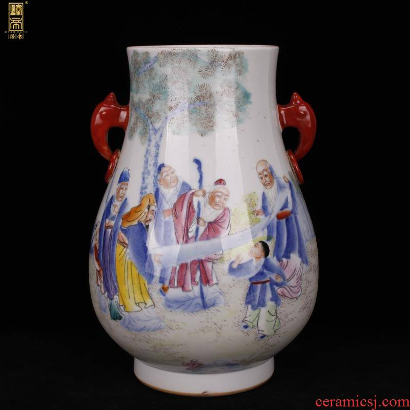 Jingdezhen f tube bottle full hand draw pastel characters statute imitation the qing xianfeng antique antique collection boutique furnishing articles