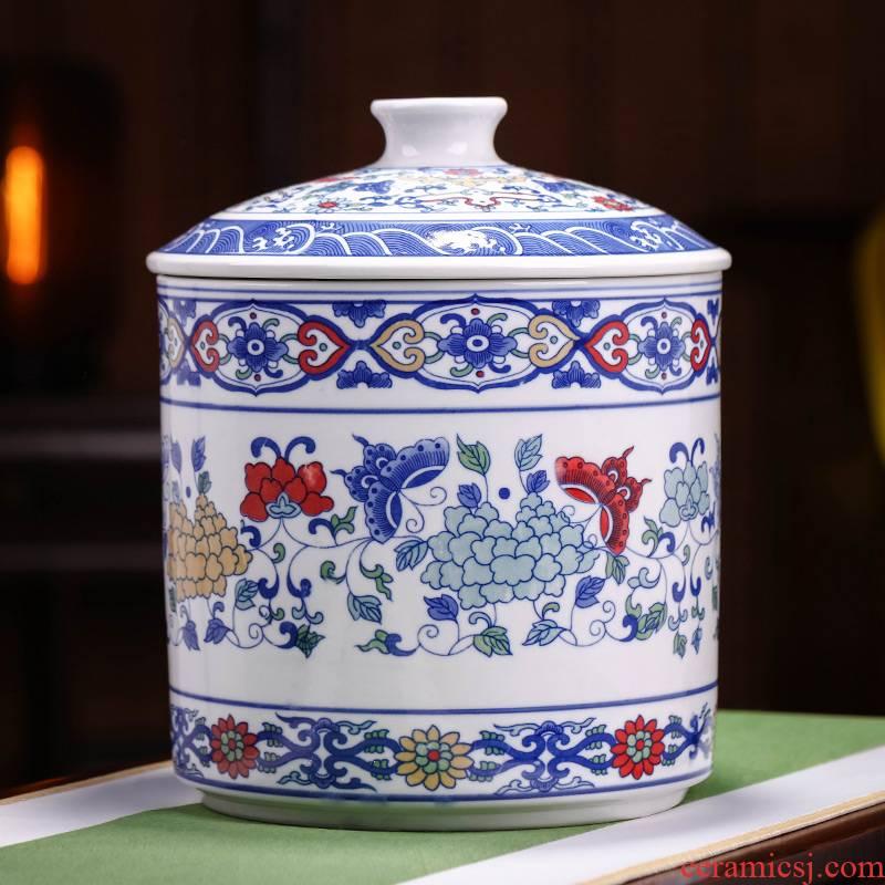 Jingdezhen blue and white porcelain ceramic tea pot large household seal puer tea cake box of moistureproof and tea tea pot