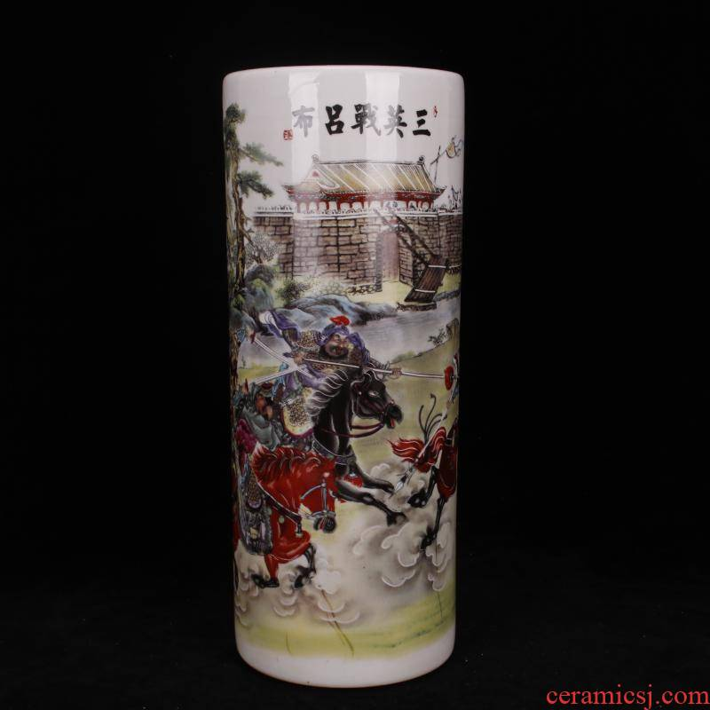 Jingdezhen preferential antique porcelain enamel three British war lyu3 bu4 cap cylinder four desk supplies Chinese style household furnishing articles