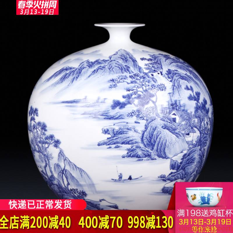 Famous master of jingdezhen ceramics hand - made pomegranates of blue and white porcelain vases, antique Chinese style living room furnishing articles