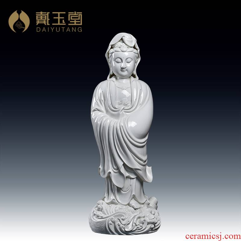 Yutang dai dehua white porcelain ceramic big Buddha temple porch place 83 cm across indicates the sea goddess of mercy corps/D12-39