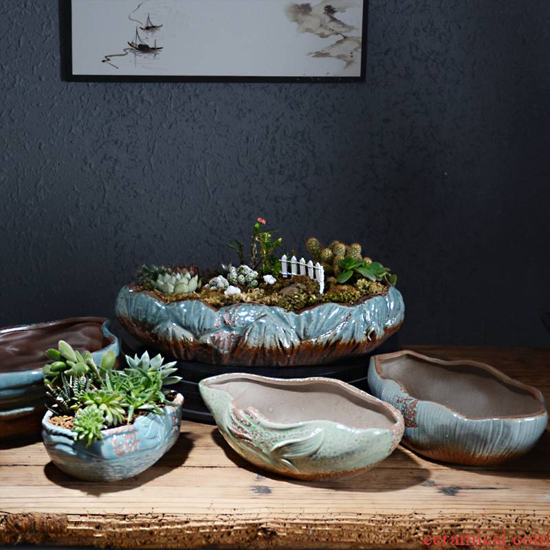 Creative fleshy flower POTS, large diameter platter is ceramic contracted big expressions using wide large extra large clearance potted the plants