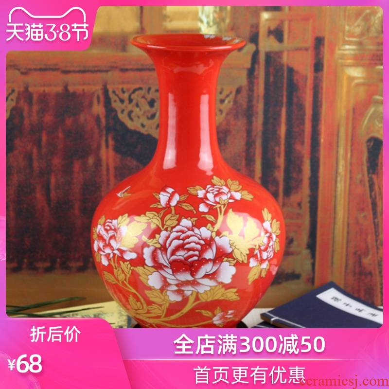 Strong sequence of jingdezhen ceramic vases, large Chinese red porcelain vase landing place wedding household decorations