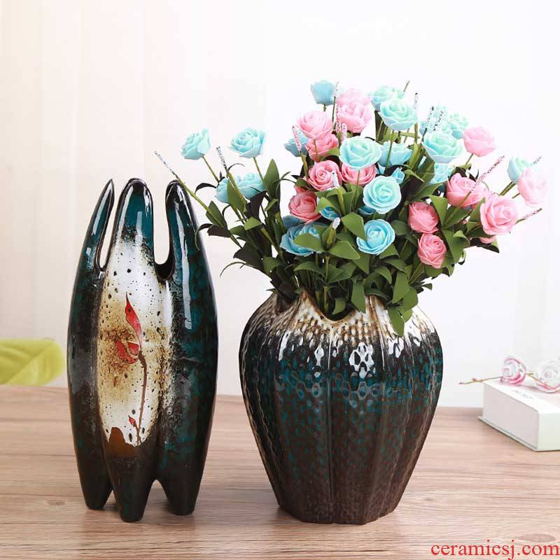 Lily fresh flowers made large dry flower vase interior decoration ceramics all over the sky star rose porcelain vase