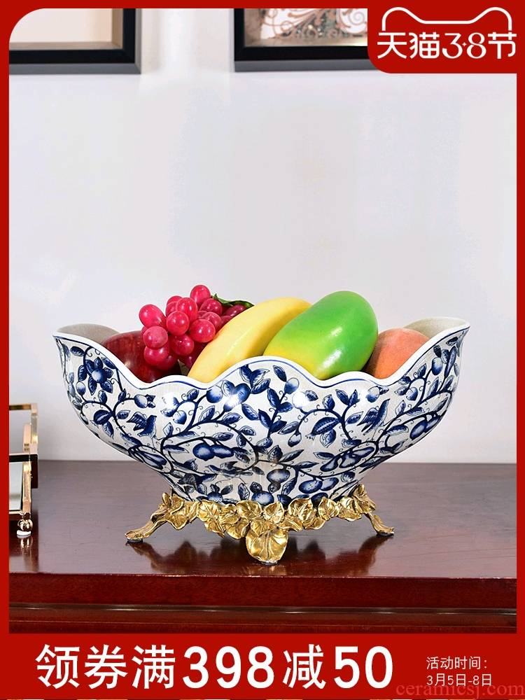 New Chinese style metal ceramic bowl of blue and white porcelain tea table decoration light key-2 luxury furnishing articles American fruit bowl high household