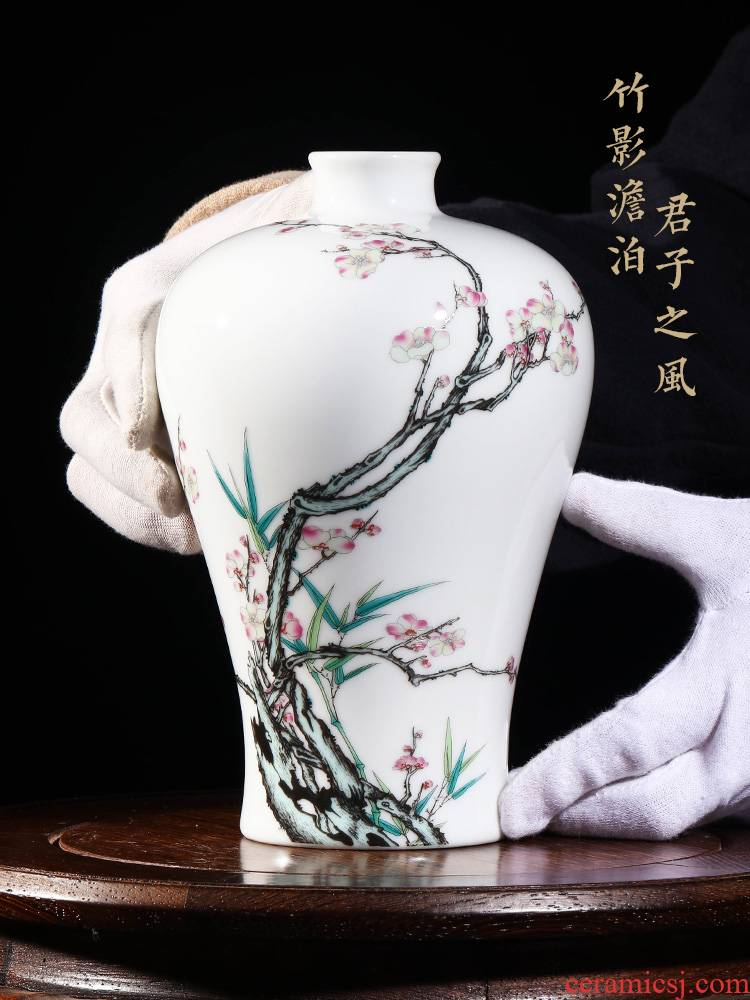 Jia lage Chinese hand - made vases, flower arrangement China YangShiQi the qing qianlong pastel and name the name plum and the bamboo figure bottles