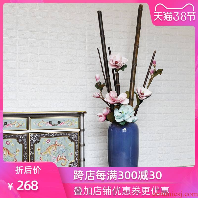 The New Chinese American blue flower arrangement sitting room home decoration ceramic vases, flower art landing place example room