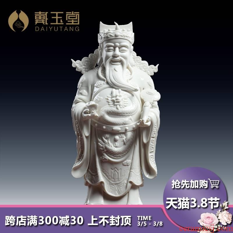 Yutang dai wealth dehua white porcelain Buddha housewarming shop furnishing articles vertical mammon like standing like opening