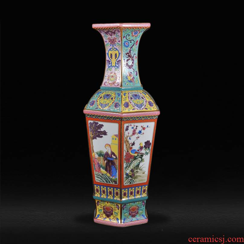 The Qing qianlong year principal colored enamel vase painting of flowers and the characters of archaize porcelain antique curio collection