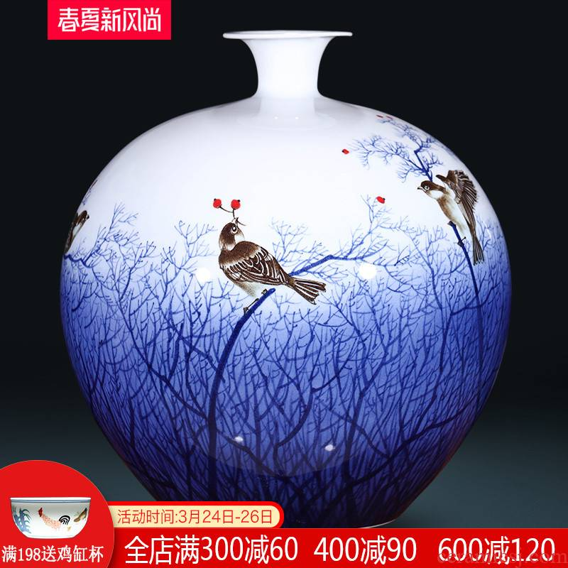 The Master of jingdezhen ceramics hand - made archaize blue and white porcelain vases, flower arranging furnishing articles of Chinese style household decorations