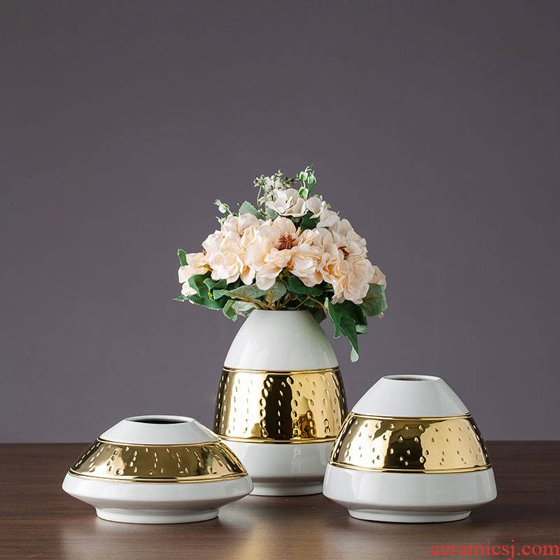 Jingdezhen ceramic vase furnishing articles gold - plated European - style simulation home sitting room decorates porch TV ark, flower arranging flowers