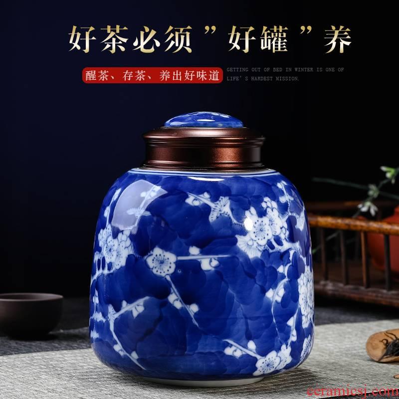 Jingdezhen ceramics hand - made porcelain tea pot seal tank storage tanks tea set small half jins moistureproof household