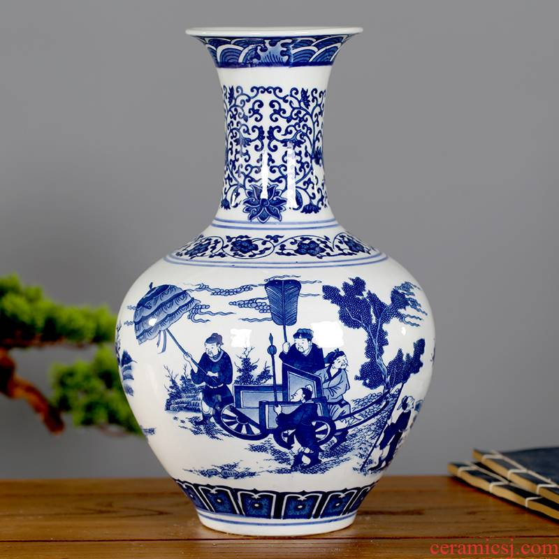 Jingdezhen blue and white porcelain of adornment of the sitting room porch ceramics museum frame of Chinese style furnishing articles study design decorative bottle
