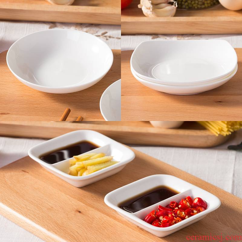 Household ipads porcelain ceramic dip a small plate of soy sauce vinegar sauce dish flavor dish of pure white little round dish flavor dishes