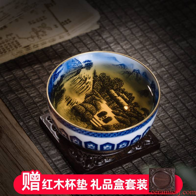 Blue and white landscape painting of owl up with jingdezhen ceramic checking master cup single cup large - sized pu - erh tea cup gift tea set