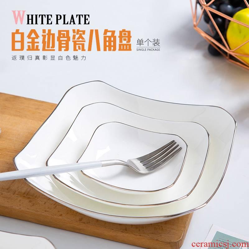 Jingdezhen ceramic tableware Chinese style food dish dish creative household ipads porcelain white Jin Bianpan plate bajiao deep soup plate