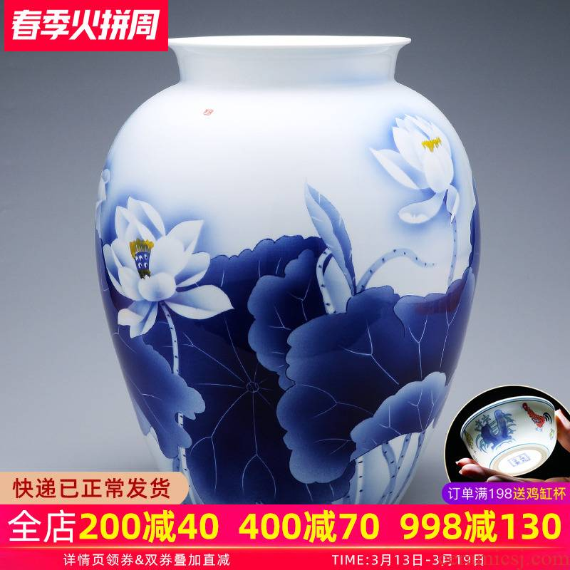 Blue and white porcelain vase hand - made porcelain of jingdezhen ceramics creative modern Chinese style household adornment flower arranging living room