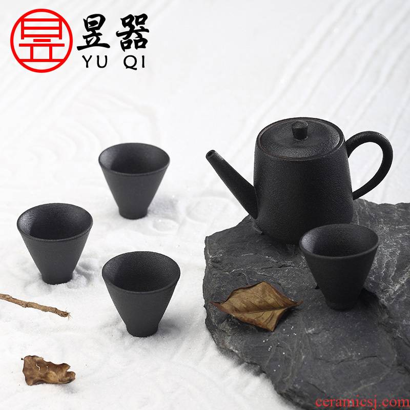 Yu is coarse TaoJian make tea tea set household kung fu tea set to restore ancient ways sand glaze of a complete set of tea cups teapot gift boxes