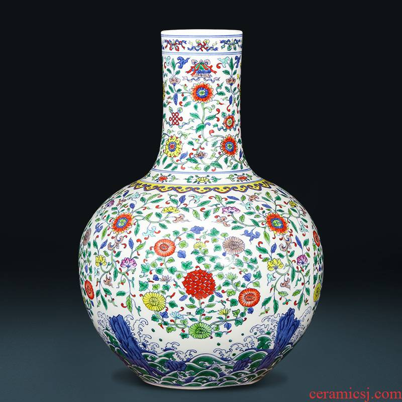 Jingdezhen ceramics imitation yongzheng hand - made color bucket large vases, flower arranging new Chinese style living room home furnishing articles