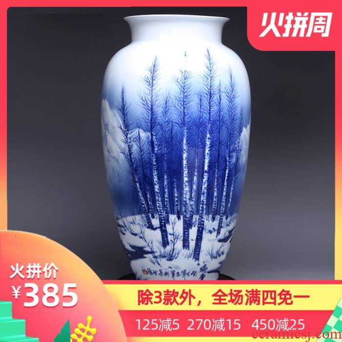 Jingdezhen ceramic I and contracted sitting room place hand - made manually restoring ancient ways of blue and white porcelain vase household decoration