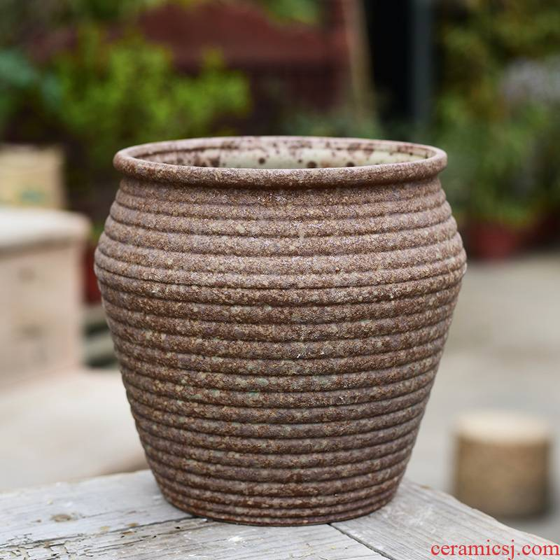 Fleshy ceramic coarse pottery flowerpot ideas contracted green plant to restore ancient ways large old basin of large diameter from running the plants meat meat