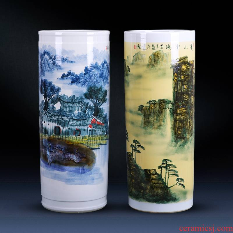Landing a large vase furnishing articles hand - made porcelain of jingdezhen ceramics son quiver straight Chinese style household ornaments