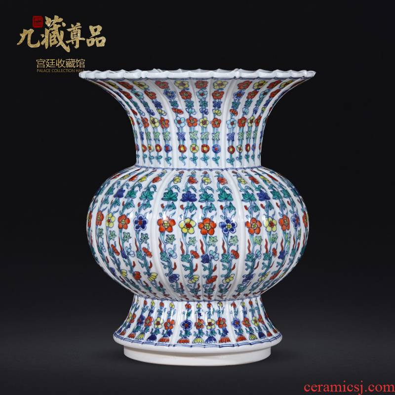 About Nine hid statute of the qing yongzheng product of jingdezhen ceramics colored flower tattoos melon leng statute of Chinese style living room vase furnishing articles