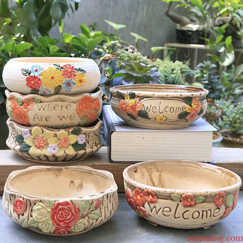 Large fleshy flowerpot ceramic special offer a clearance through pockets pottery basin of creative move meat the plants flower POTS, Large diameter