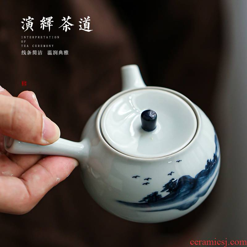 Earth story side put pot of kung fu tea tea contracted household modern Japanese ceramics jingdezhen blue and white porcelain