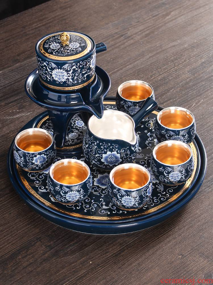 Jingdezhen manual coppering. As silver tea set household contracted lazy people make tea stone mill semiautomatic tea kungfu tea cups