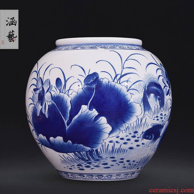 Hand - made porcelain of jingdezhen ceramics for wining year after year blessing tube of new Chinese style flower arrangement sitting room adornment handicraft furnishing articles