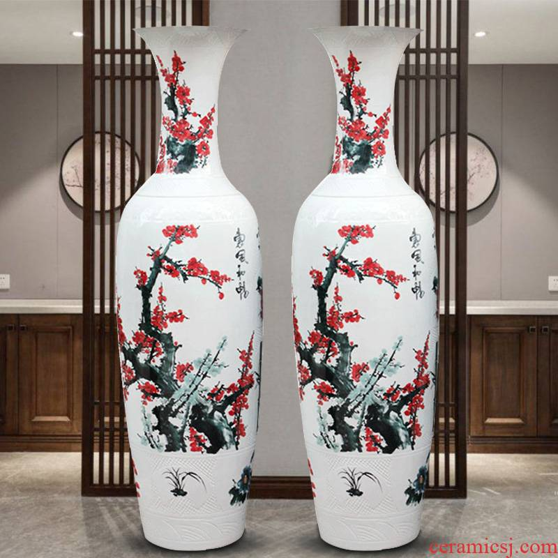 Sf19 jingdezhen ceramics hand - made name plum flower pretty breeze where large vases, sitting room hotel decoration furnishing articles