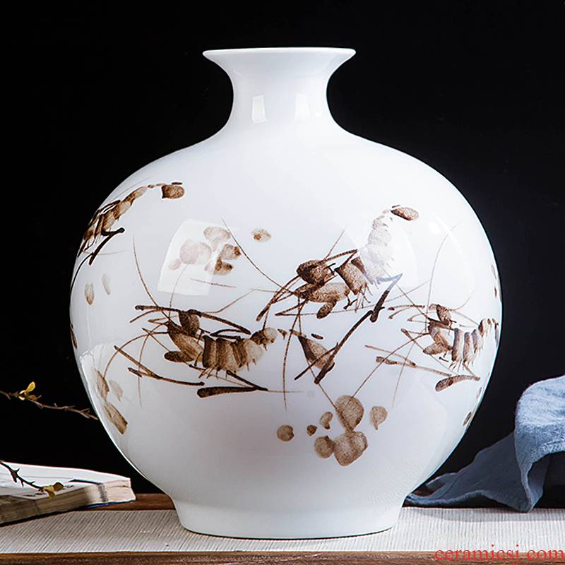 Contracted and I jingdezhen ceramics hand - made shrimp boring vase home wine cabinet office sitting room adornment is placed