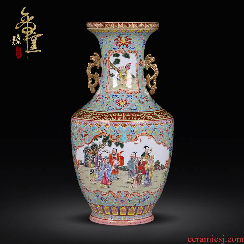 Long with the jingdezhen ceramics vase archaize colored enamel the eight immortals sitting room porch decoration of Chinese style household furnishing articles