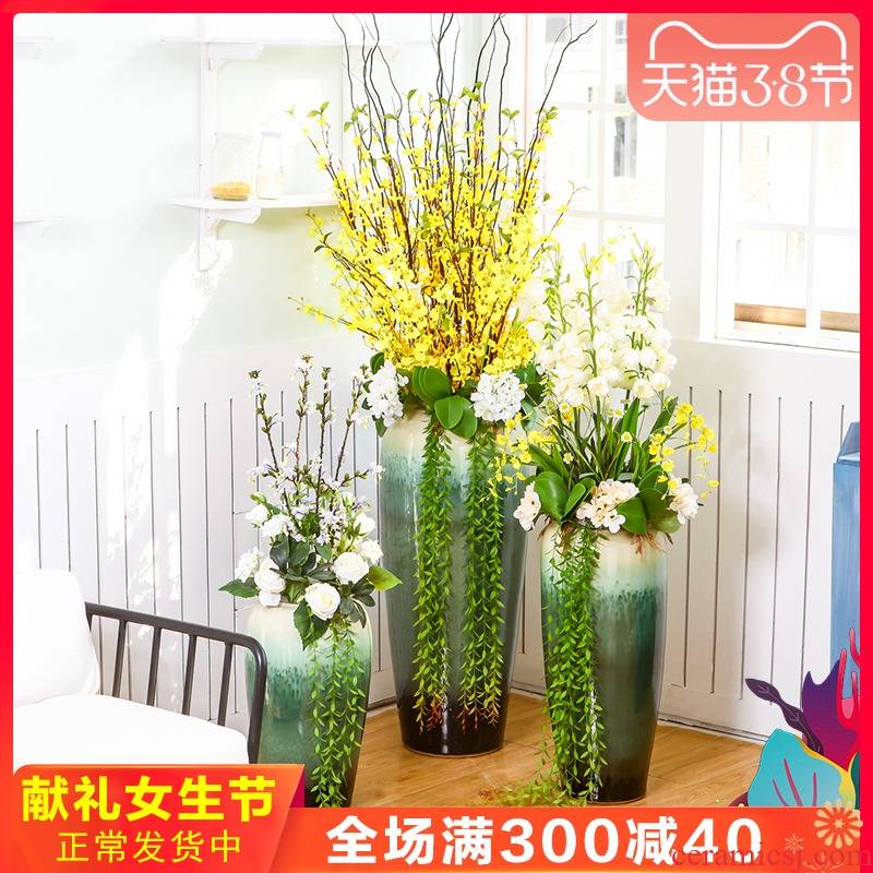Jingdezhen ceramic floor living room big vase hall club entity decoration flower flower flower implement simulation suits for