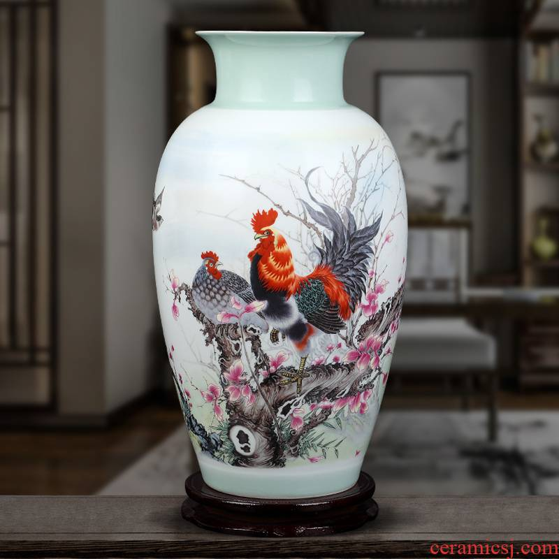 Jingdezhen ceramics vase furnishing articles sitting room flower arranging new Chinese style household TV ark, decoration arts and crafts
